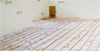 "In-Floor Heating Tubing is Laid, Tested, Before Placing 4"" of Concrete..."